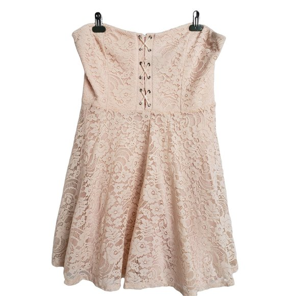 FOREVER 21 Peach Lace Strapless Flared Dress 1X